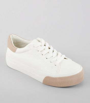 White Contrast Panel Chunky Sole Trainers