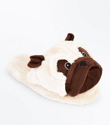 Brown Pug Slippers