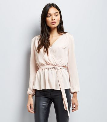 Pink Mesh Panel Wrap Front Top