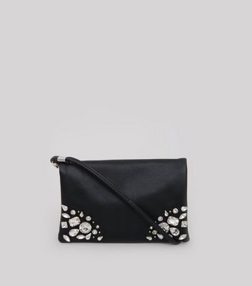 Black Embellished Fold Over Cross Body Bag