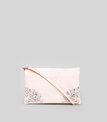 Shell Pink Embellished Cross Body Bag