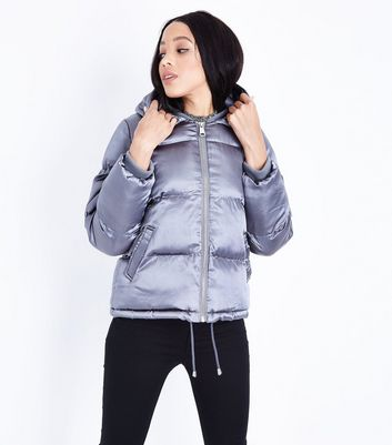 Blue Vanilla Pink Satin Hooded Puffer Jacket