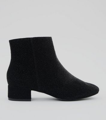 Wide Fit Black Glitter Block Heel Ankle Boots