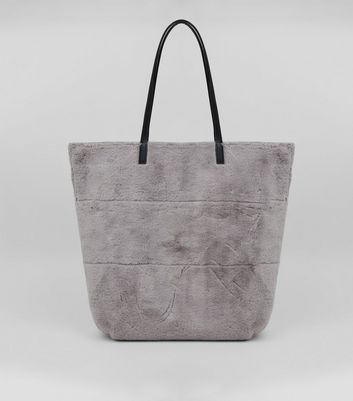 Grey Faux Fur Tote Oversized Bag