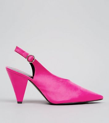 Wide Fit Pink Satin Pointed Cone Heels
