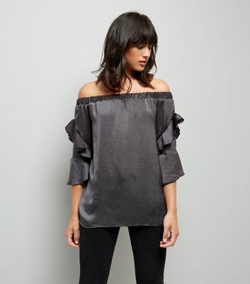 Blue Vanilla Grey Satin Frill Sleeve Bardot Neck Top