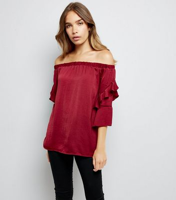 Blue Vanilla Red Satin Frill Sleeve Bardot Neck Top