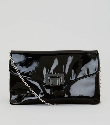 Black Patent Twist Lock Clutch Bag