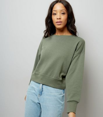 Khaki Cropped Sweatshirt