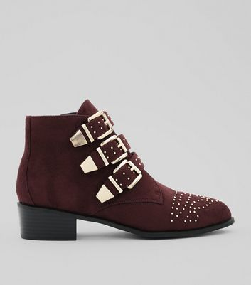 Wide Fit Burgundy Suedette Stud Buckle Ankle Boots