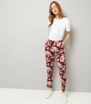 Red Floral Print Tie Waist Joggers