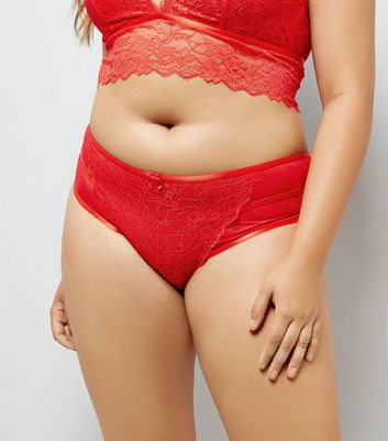 Curves Red Lace Back Brazilian Briefs
