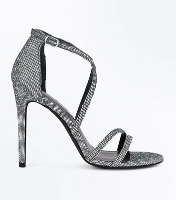Silver Glitter Strappy Stiletto Heeled Sandals