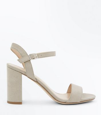 grey-suedette-block-heel-sandals by new-look