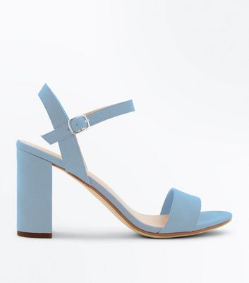 Pale Blue Suedette Block Heel Sandals