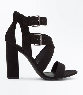 Black Suedette Block Heel Strappy Sandals