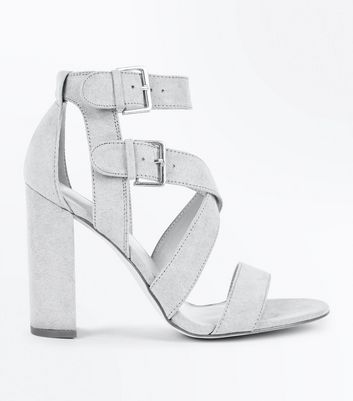 Grey Suedette Strappy Double Buckle Block Heels