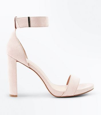 Nude Suedette Metal Trim Block Heel Sandals