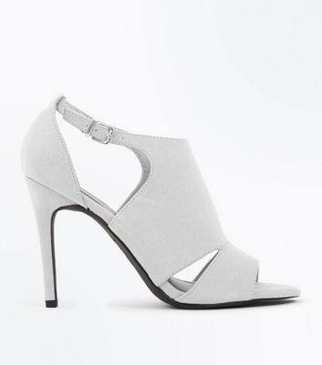 Grey Suedette Cut Out Side Stiletto Heels