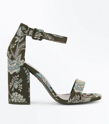 Black Floral Brocade Block Heel Sandals