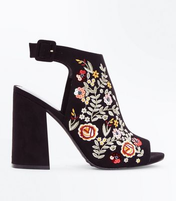 Black Suedette Floral Embroidered Peep Toe Heels