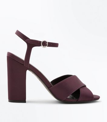 Dark Purple Satin Cross Strap Block Heels