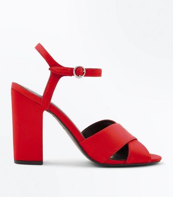Red Satin Cross Strap Block Heels