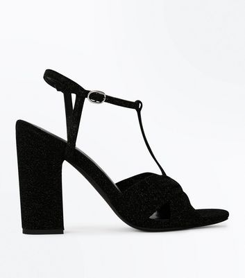 Black Glitter T Bar Block Heel Sandals