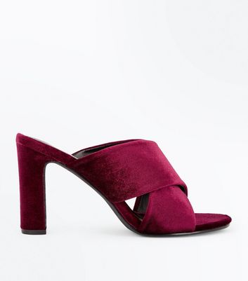 Burgundy Velvet Cross Strap Heeled Mules