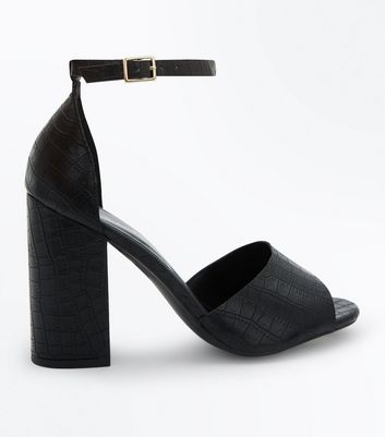 Black Faux Croc Block Heel Sandals