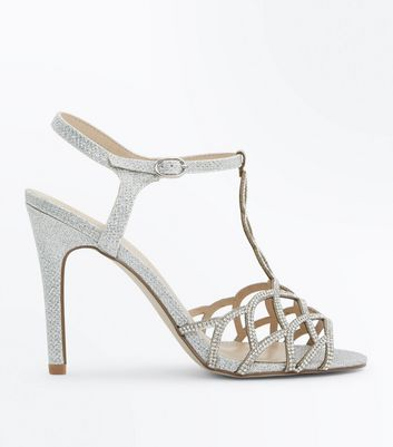 Silver Glitter Embellished Heeled Sandals