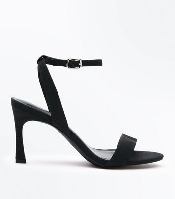 Black Satin Flare Heel Sandals