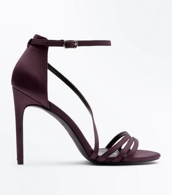 Dark Purple Satin Strappy Sandals