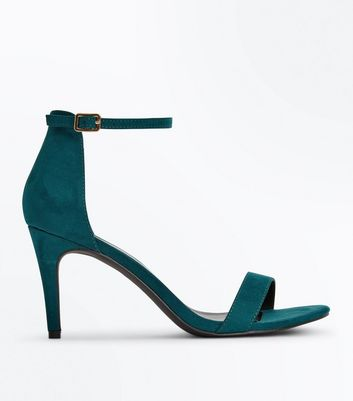 Teal Suedette Stiletto Heeled Sandals
