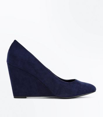 Navy Suedette Round Toe Wedges