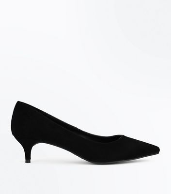 Black Suedette Kitten Heel Court Shoes