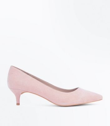 Nude Suedette Kitten Heel Court Shoes