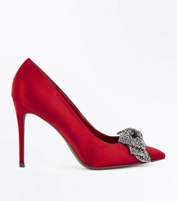 Red Satin Embellished Bow Pointed Court Shoes