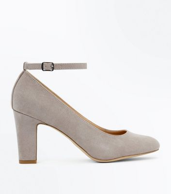 Grey Suedette Ankle Strap Court Shoes