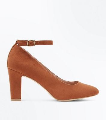 Tan Suedette Ankle Strap Court Shoes