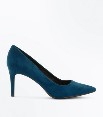 Teal Suedette Mid Heel Pointed Court Shoes