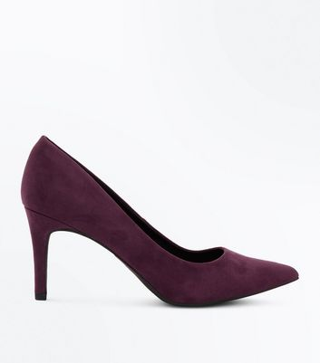 Purple Suedette Mid Heel Pointed Court Shoes