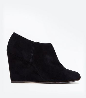 Black Suedette Wedge Heels