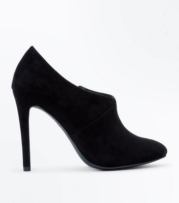 Black Suedette Seam Side Shoe Boots