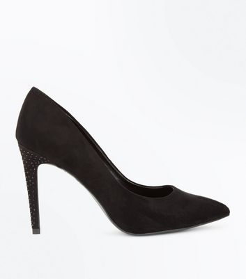 Black Suedette Embellished Heel Court Shoes