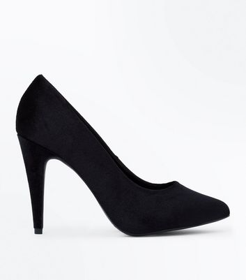 Black Velvet Cone Heel Court Shoes