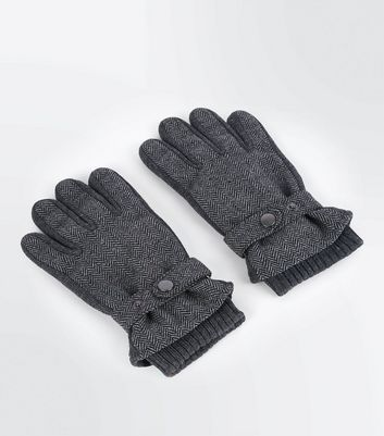 Dark Grey Herringbone Gloves