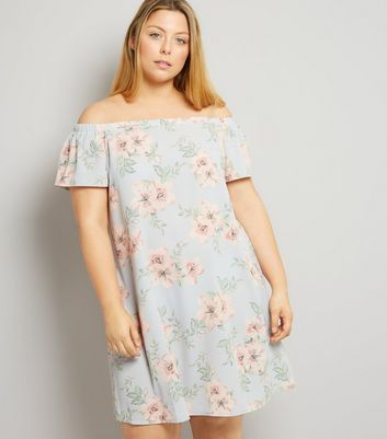 Curves Pink Floral Print Bardot Neck Dress