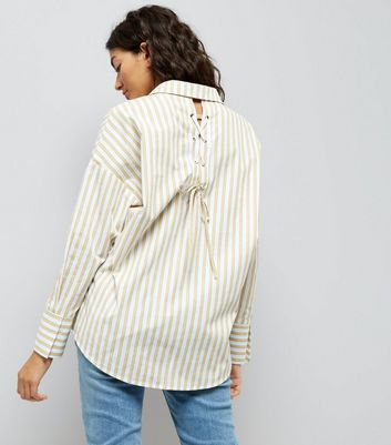 Yellow Stripe Lace Up Back Shirt