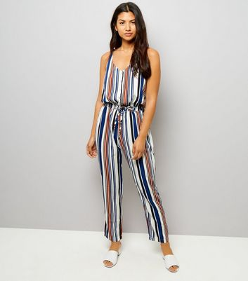 Mela Multicoloured Stripe Tie Waist Jumpsuit